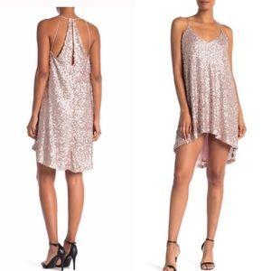 NAR NWT Pink Sequin Hi-Lo Party Dress S